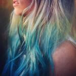 Cabelo de sereia com ombré hair turquesa/ verde azulado