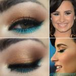 Passo a Passo - tutorial inspirado em make dourado e turquesa de Demi Lovato