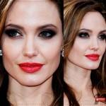 Os makes com batom vermelho de Angelina Jolie