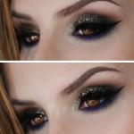 Tutorial - maquiagem para noite com roxo, preto e dourado