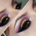 Tutorial - esfumado roxo com glitter holográfico