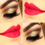 Tutorial - maquiagem dourada com batom vermelho