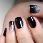 Tutorial - unhas pretas com ombré glitter prata
