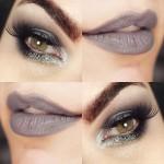 50 tons de cinza na maquiagem dos olhos e da boca