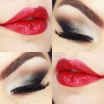 Tutorial - maquiagem degradê cinza e boca vermelha